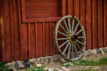 Wagon Wheel And Barn Wall