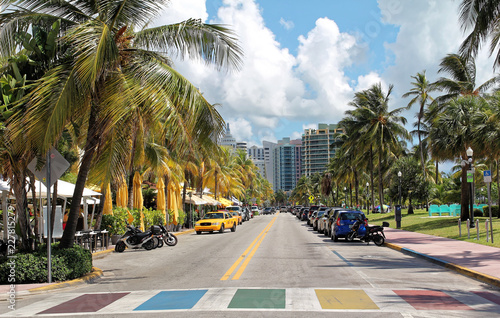 Miami beach, Florida - July 16, 2016: Ocean Drive hotels and buildings in Miami Beach, Florida Fototapet