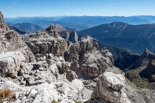 Staande foto Bergen Panoramic view of famous Dolomites mountain peaks, Brenta. Trentino, Italy