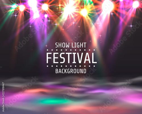 Fototapeta Festival show light, dance floor banner, disco text signboard. Vector illustration obraz