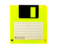 Yellow Floppy Disk With Blank ...
