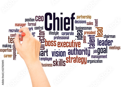 Photo  Chief word cloud hand writing concept