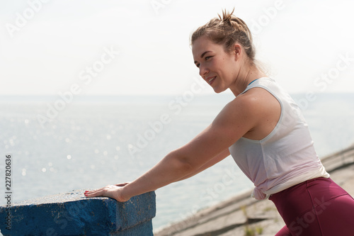 Printed kitchen splashbacks Artist KB Portrait of charming young woman during workout