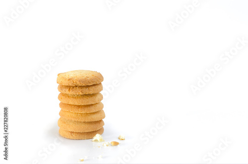 multi layer cookie on white background and a bit crack on ground