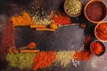 Different Kind Of Spices On Da...