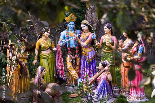 Lord Krishna with his radha Fototapet