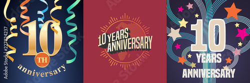 Canvas Print 10 years anniversary celebration set of vector icons, logo.
