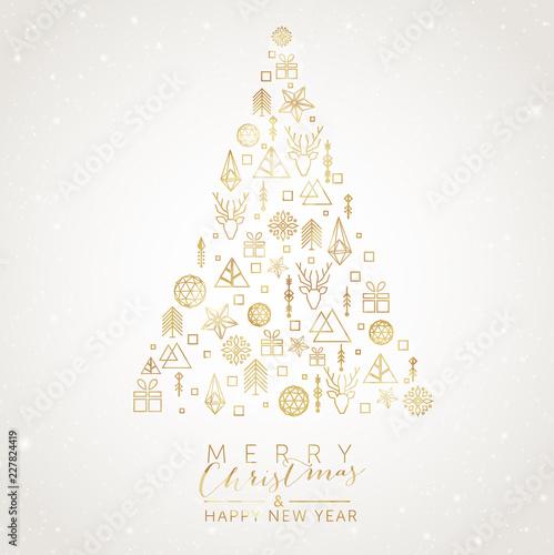 Fototapeta Christmas Tree with geometric elements obraz