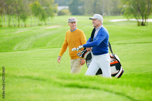 Two aged buddies having talk while hurrying for game of golf along green field