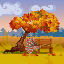 A Wooden Bench With A Plaid Blanket Under The Autumn Tree. Vector Cartoon Close-up Illustration.