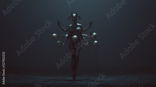 Sexy Multi-Armed Devil Woman with Floating Skulls in a foggy void 3d Illustratio Wallpaper Mural