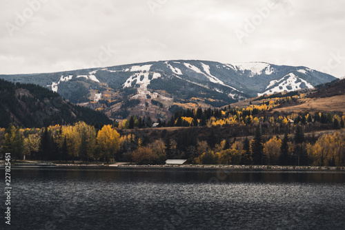 Foto op Canvas Grijs Beaver Creek seen from Nottingham Lake in Avon during Autumn.