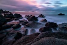 Moody Sunset At Uttakleiv Beach In Lofoten, Norway