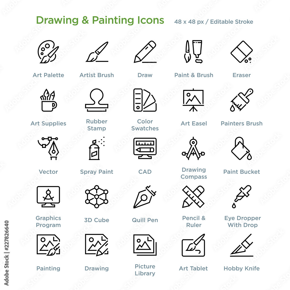 Fototapety, obrazy: Drawing And Painting Icons - Outline styled icons, designed to 48 x 48 pixel grid. Editable stroke.
