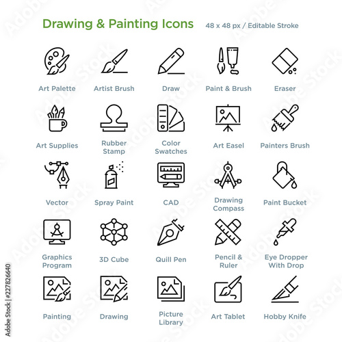 Photo  Drawing And Painting Icons - Outline styled icons, designed to 48 x 48 pixel grid