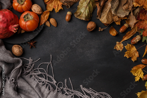 Fotografie, Obraz  Autumn composition of dry leaves, fruits and flowers on a dark background