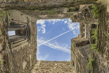 Looking Upwards Through A Roofless Castle Turret