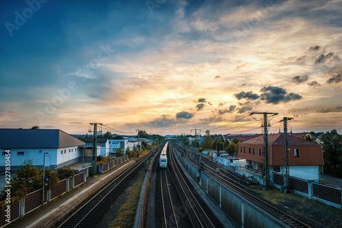 Wall Murals Northern Europe Zug im Sonnenuntergang