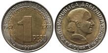 Argentina Argentinean Bimetallic Coin 1 One Peso 1997, Subject 50th Anniversary Of Women's Suffrage Law, Head Of Eva Duarte De Peron Right,