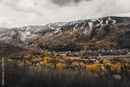 Landscape view of Vail, Colorado after an autumn snow storm.