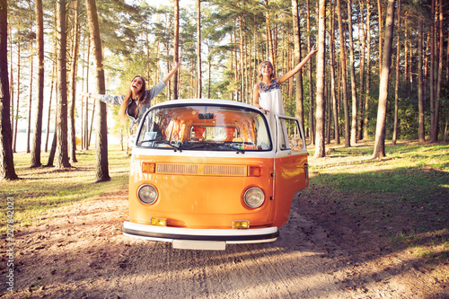Hipster friends on road trip on a summers day Fototapeta