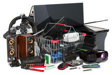 Shopping Basket With Computer Device And Accessories, 3D Rendering