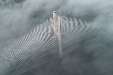 Redzinski bridge in the clouds aerial view
