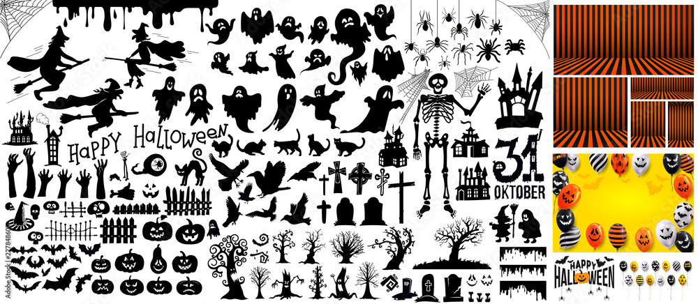 Fototapeta Big Set of halloween silhouettes black icon and character. Vector illustration. Isolated on white background.