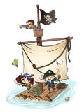barco pirata con niños