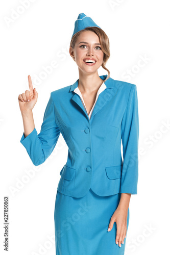 Photo Portrait of charming stewardess wearing in blue uniform