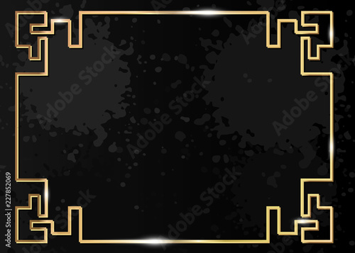 20b21def6326 Traditional Chinese decorative golden frame. Gold luxury ornamental element  for holiday design. Isolated on