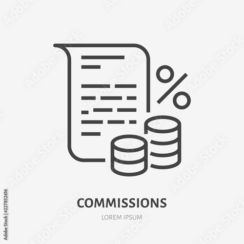 Cuadros en Lienzo Deposit interest flat line icon, credit, loan commission