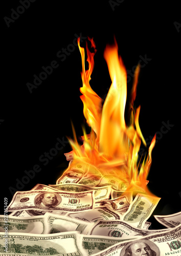 Canvastavla Conceptual finance image of burning pile of money, dollar bills, and fire flames
