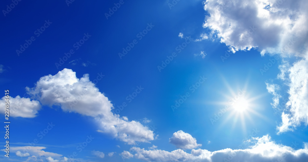 Fototapety, obrazy: conceptual background image of blue sky with clouds and shining sun