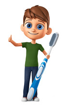 Cheerful Boy With A Toothbrush...