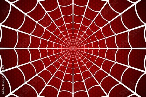 Fotografia Spider web. Cobweb on Red background. Vector illustration