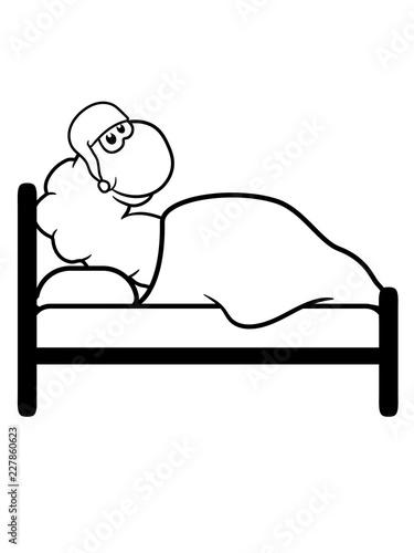 Bett Mude Schlafen Schlafmutze Nacht Abend Decke Kissen Ruhe Erholen