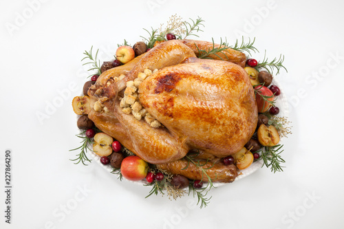 Roasted Turkey with Grab Apples over white