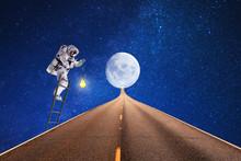 Travel On  Space Moon.astronau...