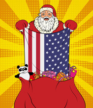Santa Claus Gets National Flag Of USA Out Of The Bag With Toys In Pop Art Style. Illustration Of New Year In Pop Art Style