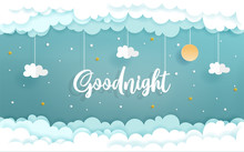 Paper Art With Goodnight Concept With Cloud And Star, Vector Illustration.