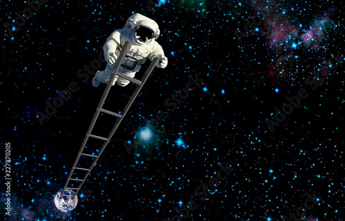 space tourism.astronait on ladder in outer space.elements of this image furnished by NASA