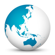 White 3D Globe Icon With Blue ...