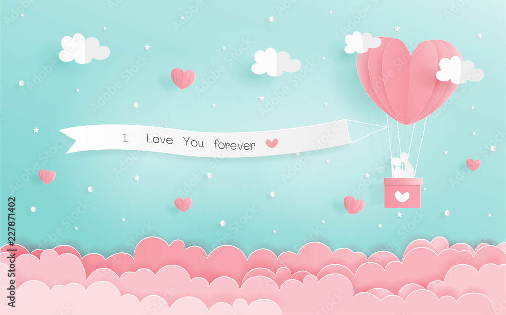 Fototapety, obrazy: Paper origami of love concept with heart balloons and signboard hanging in the sky, Valentine's and wedding card in paper cut style vector.