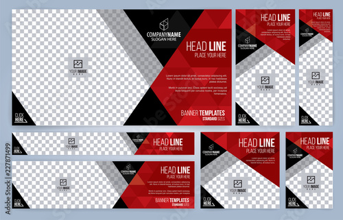 Obraz Red and Black Web banners templates, standard sizes with space for photo, modern design - fototapety do salonu