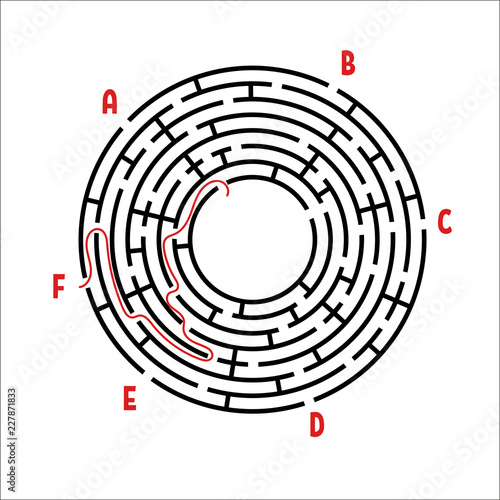 Abstract round maze  Game for kids  Children's puzzle  Six