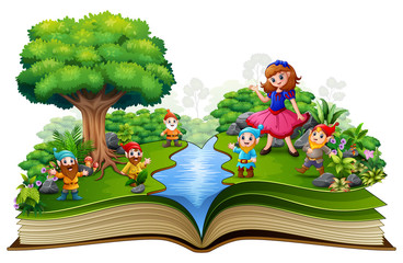 Open book with a beautifull snow white and dwarf