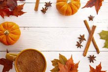 Fall Themed Border With Real Leaves Pumpkins Spices And Hot Latte