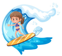 A Surfer Girl Character