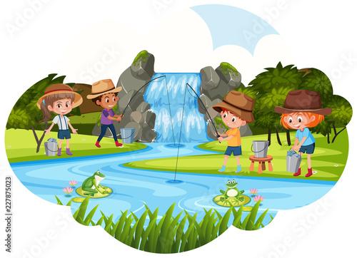 Aluminium Prints River, lake People fishing next to waterfall